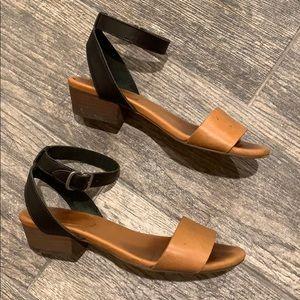 Madewell Black Tan Ankle Strap Colorblock sandal
